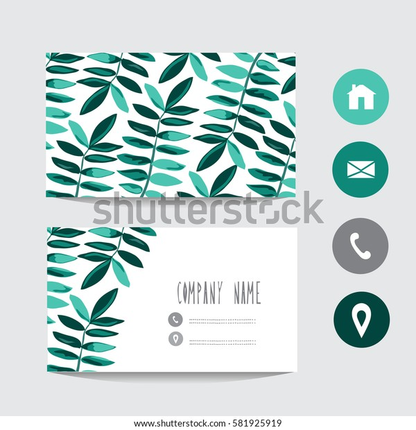 Business card template, design element. Can be used also for greeting cards, banners, invitations, flyers, posters. Decorative branches with leaves