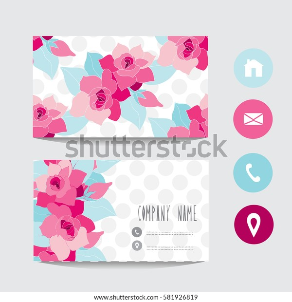 Business card template, design element. Can be used also for greeting cards, banners, invitations,flyers, posters. Decorative flowers