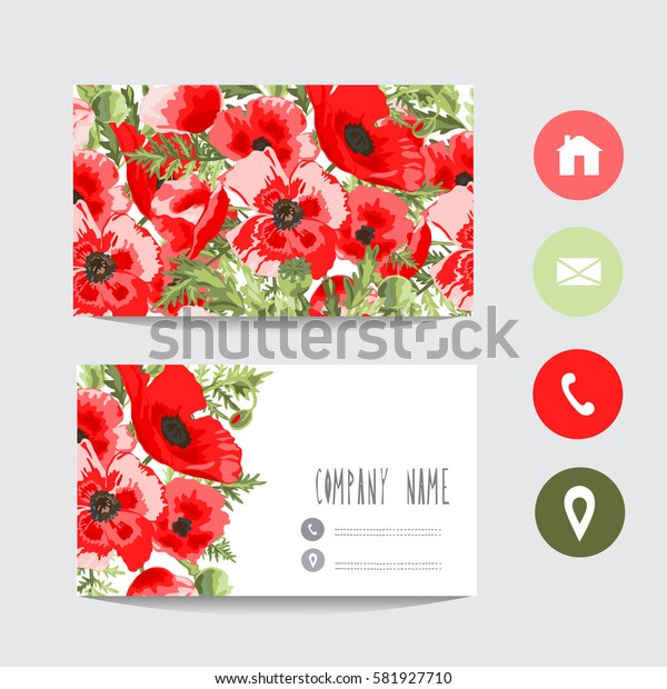 Business card template, design element. Can be used also for greeting cards, banners, invitations, flyers, posters. Decorative flowers.