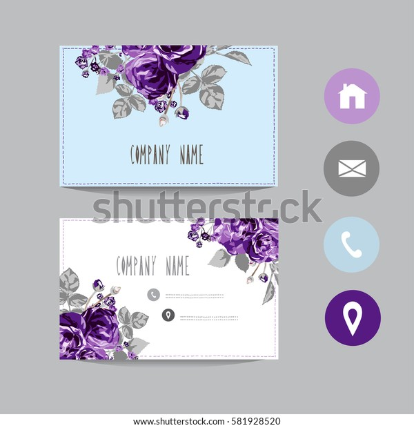 Business card template, design element. Can be used also for greeting cards, banners, invitations, flyers, posters. Decorative flowers in watercolor style