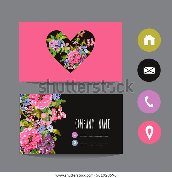 Business card template, design element. Can be used also for greeting cards, banners, invitations, flyers, posters. Decorative flowers in watercolor style.