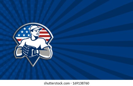 Business card template illustration of an american baseball player pitcher outfilelder with glove set inside triangle with USA stars and stripes flag isolated on white background.