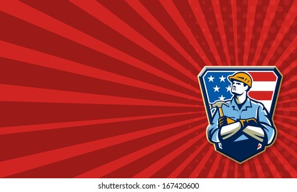 Business card template showing illustration of an american carpenter builder holding hammer looking up set inside shield great with stars and stripes flag in background.