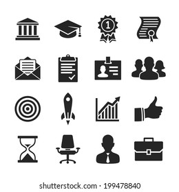 Business career icons. Raster illustration. Simplus series