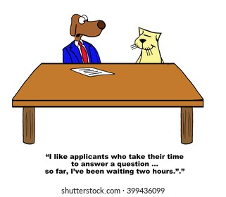 Business cartoon about answering questions during a job interview.