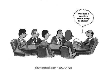 Business cartoon about a boss wanting disgruntled employees to share a positive work story.