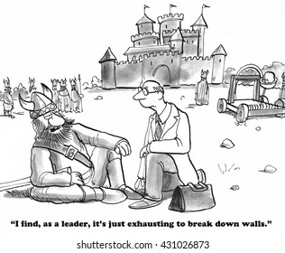 Business cartoon about breaking down walls.