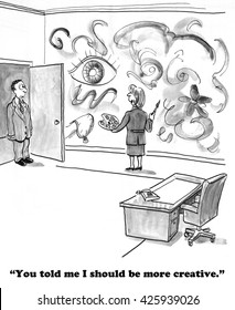 Business cartoon about a businesswoman who misunderstood her boss so she is painting her office wall.