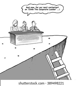 Business cartoon about climbing the corporate ladder.
