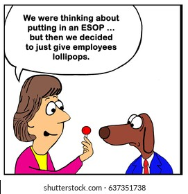 Business cartoon about a company that gives lollipops rather than an ESOP plan.