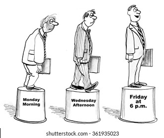 Business cartoon about corporate culture.  On work weeks Monday's were pretty bad for the businessman, but he felt great by 6PM on Friday.