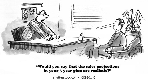 Business cartoon about exaggerating the volume projection in the 3 year plan.