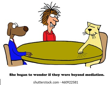 Business cartoon about lack of success in mediation.