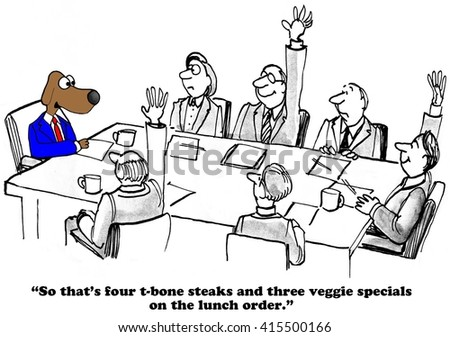 business cartoon about lunch options teamのイラスト素材 415500166