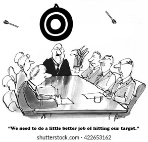 Business cartoon about missing the target.