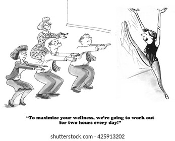 Business cartoon about offering exercise classes at work to lower health insurance cost.