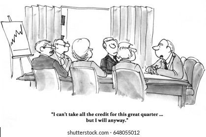 Business cartoon about sales increasing and the boss taking all the credit for it.