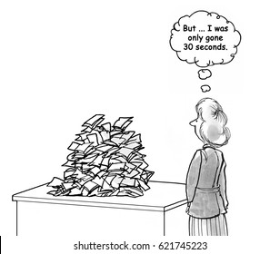 Business cartoon about seeming to have a constant pile of paperwork to complete.