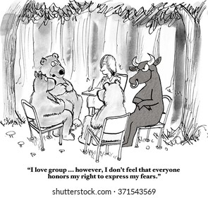 Business cartoon about the stock market.  In the therapy session, the bear feels he cannot share his fears because the bull is intimidating him.