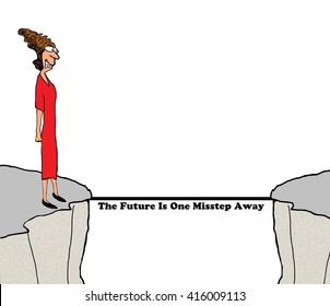 Business cartoon about taking risk.