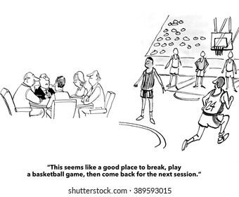 Business cartoon about a team meeting.