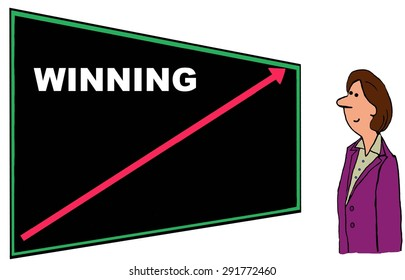 Business cartoon of businesswoman looking at blackboard with increasing red arrow and the word 'winning'.