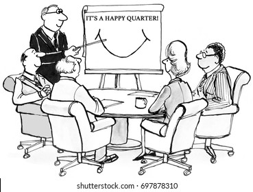 Business cartoon illustration showing executives smiling 'it's a happy quarter'.