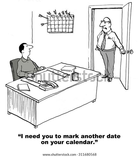 Business Cartoon Showing Businessman Boss Saying Stock Illustration