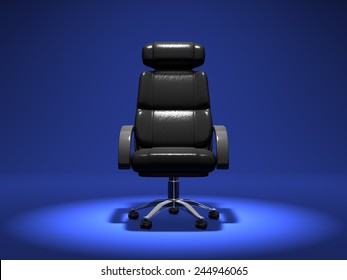 Business Chair On Blue Background. 3D render Animation For Business scene.