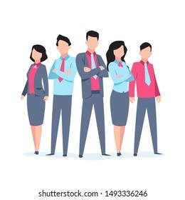 Business characters team work. Office people corporate employee cartoon teamwork communication. Flat business team  illustration