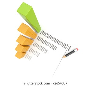 Business chart 3d. graph Isolated