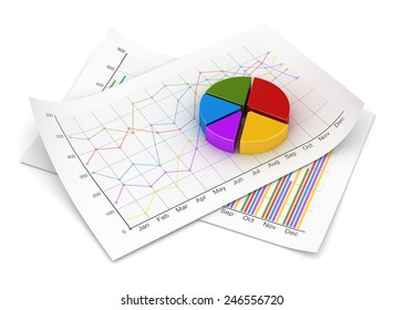 Business chart , computer generated image. 3d rendered image.