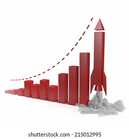 Business chart with a rocket going up. Concept 3d illustration