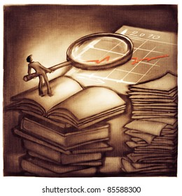 business chart symbolic success metaphor - businessman holding a magnifier, getting more information