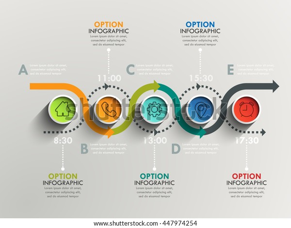 Business circle timeline banner. Modern business infographic. Infographic number options. Winding timeline. Web Design Element