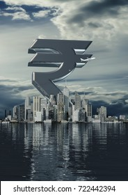 Business city rupee / 3D illustration of Indian rupee currency symbol rising from modern city on the waterfront