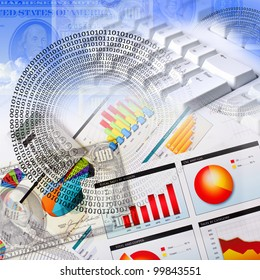 Business collage with financial and business charts and graphs