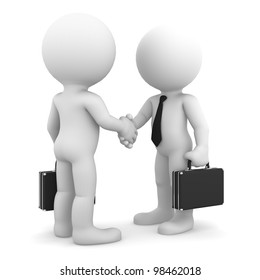 Business colleagues shaking hands. Isolated on white background