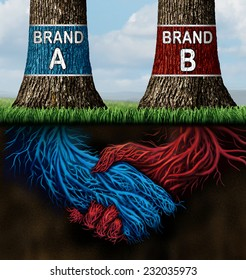 Business collusion concept as two trees representing companies with different market brands coming together secretively in a handshake as underground roots as a metaphor for market deception.