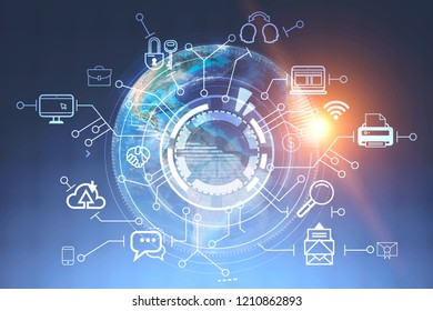 Business communication icons around hud against digital earth background. Hi tech concept. 3d rendering toned image double exposure Elements of this image furnished by NASA