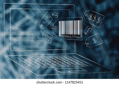 business communication and persuading customers conceptual illustration: marketing price tag icons popping out of laptop screen