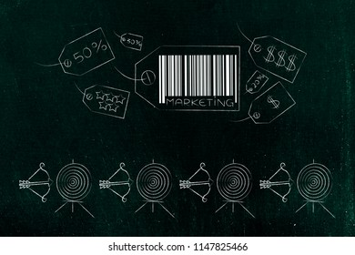 business communication and persuading customers conceptual illustration: marketing price tag icons with line of targets and arrows below