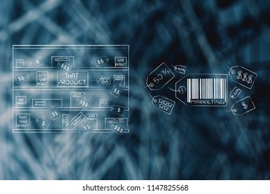 business communication and persuading customers conceptual illustration: store aisle with different products and group of price tags with Marketing caption and bar code
