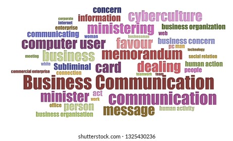 Business Communication Tagcloud Aligned On White Background