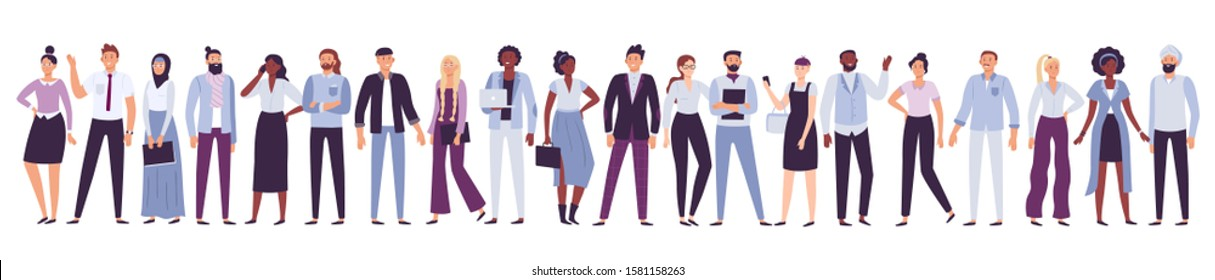Business company people. Office team, multicultural collective workers group and businessman community. Diverse multinational freelancers, persons on job businessparty  illustration