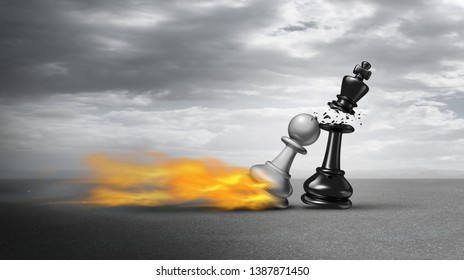 Business competition success and competitive energy over other business competitors as a powerful chess pawn winning over a king as a checkmate concept for overcoming challenges as a 3D illustration.