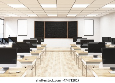 Business computer lab at university. Chalk board, computers on desks. Posters on wall. 3d rendering. Back to school. Mock up