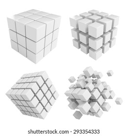 Business concept - 3D block cubes render collection