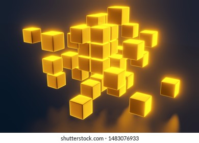 Business concept, 3D gold block cubes on dark background. 3D rendering