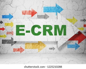 Business concept:  arrow with E-CRM on grunge textured concrete wall background, 3D rendering